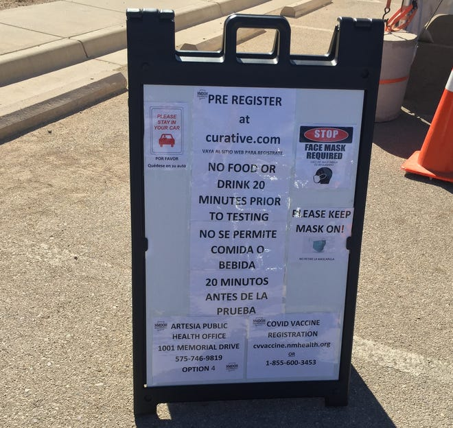 A sign greets drive-thru COVID-19 testers at the Eddy County Public Health Office in Artesia on Feb. 24, 2021.