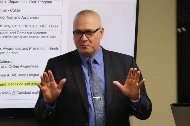 Carlsbad Police Chief Shane Skinner speaks to attendees of a women's self-defense workshop, Jan. 9, 2020 at the Carlsbad Police Department.