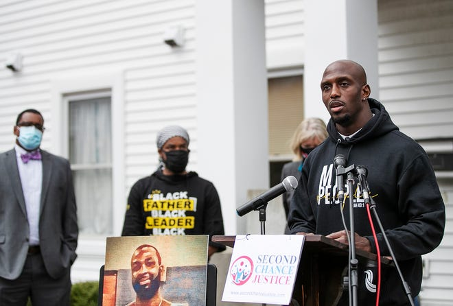 New England Patriots safety Devin McCourty tells the press about his conversations over Zoom with William Allen, who is incarcerated, during the news conference hosted by the Brockton Interfaith Community (BIC) in support of calls for a second chance at justice for William Allen on Wednesday, April 7, 2021, at the Christ Congregational Church in Brockton.