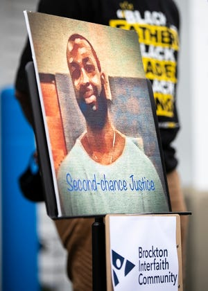 Brockton Interfaith Community (BIC) hosts a news conference with New England Patriots safety Devin McCourty and the racial justice program of the ACLU Massachusetts to call for clemency for William Allen on Wednesday, April 7, 2021.