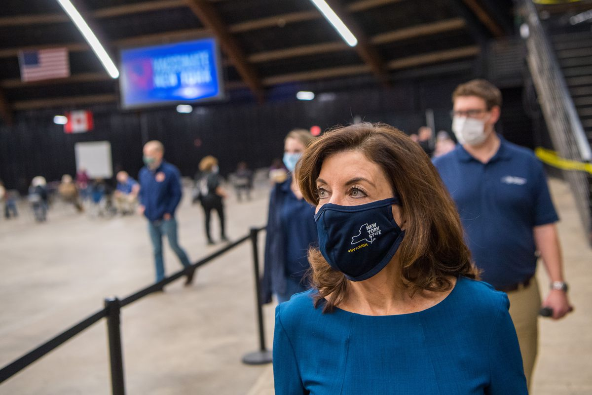 January 25, 2021-Buffalo- Lt. Governor Kathy Hochul on behalf of Governor Andrew Cuomo tours and holds a press briefing at opening of COVID-19 Vaccination Center at St. John Baptist Church, 184 Goodall St.